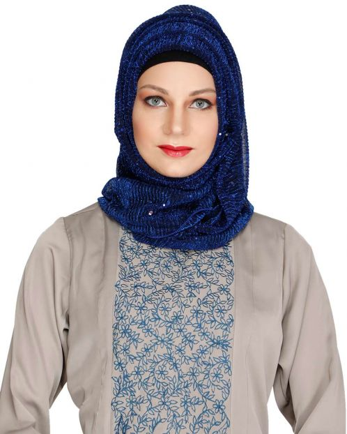 Sequence Sprinkle Blue crinkled Hijab