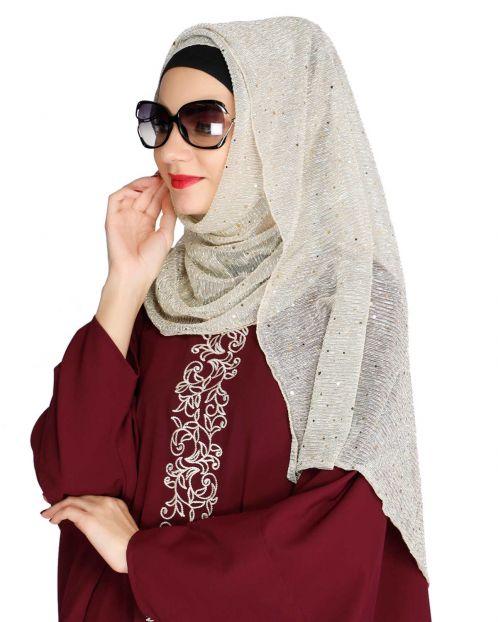 Sequence Sprinkle Silver crinkled Hijab