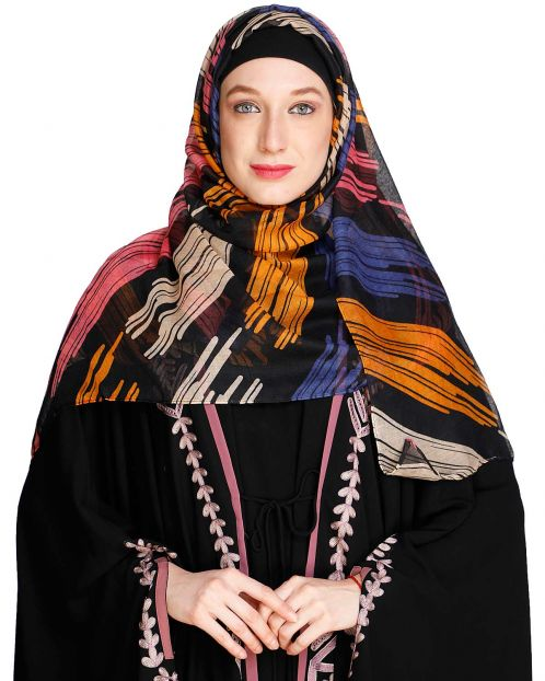 Brushed Multi colour Black Hijab