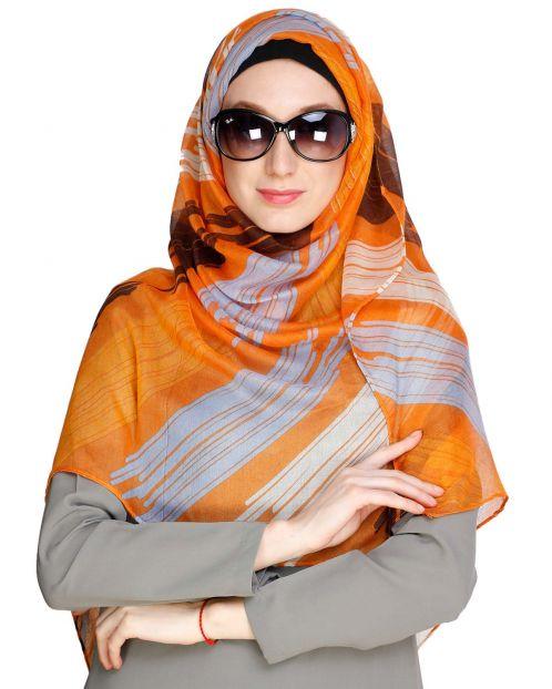 Brushed Multi colour Orange Hijab