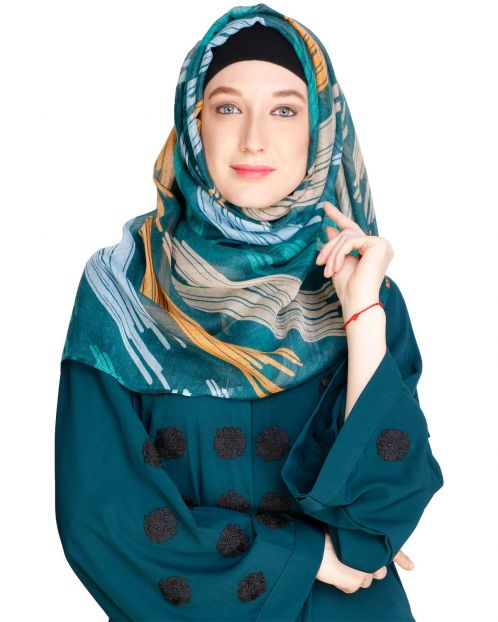 Brushed Multi colour Green Hijab