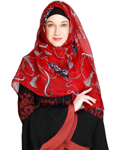 Kota silk Printed Maroon Hijab