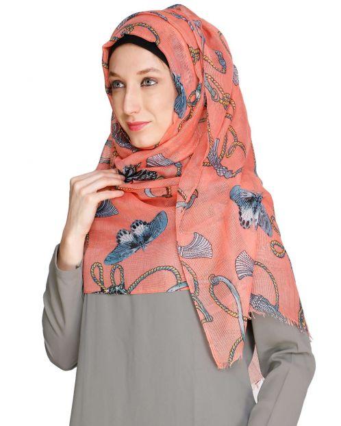 Kota silk Printed Peach Hijab
