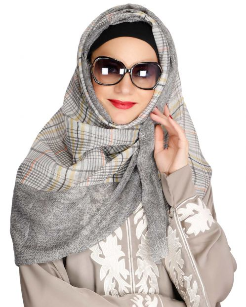 Checks and Solid Border Grey Hijab