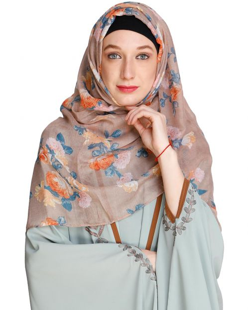Rose Print Brown Hijab