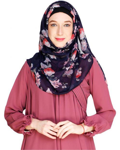 Rose Print Blue Hijab Hijab