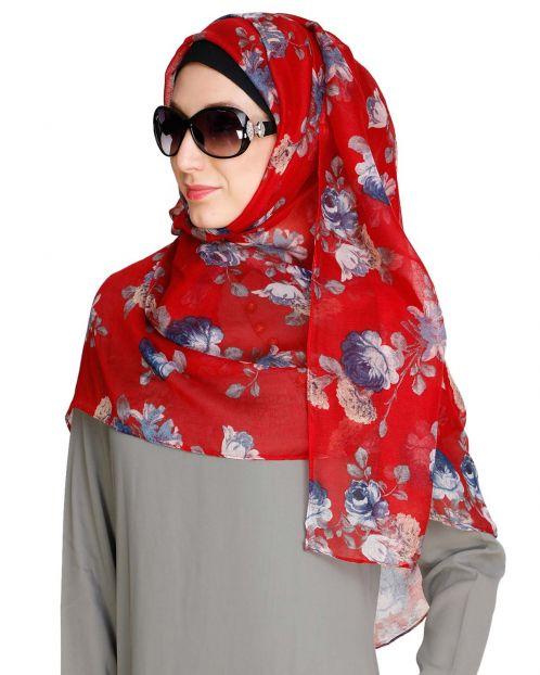 Rose Print Red Hijab