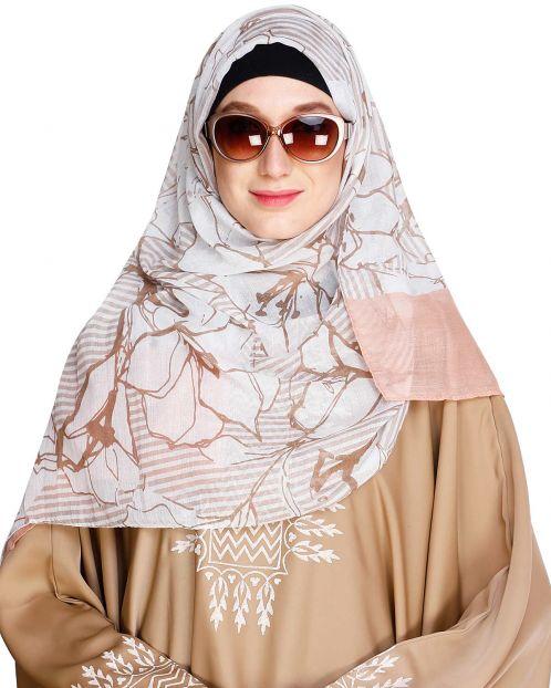 Printed Solid Border Peach Hijab