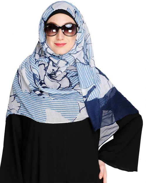 Printed Solid Border Blue Hijab