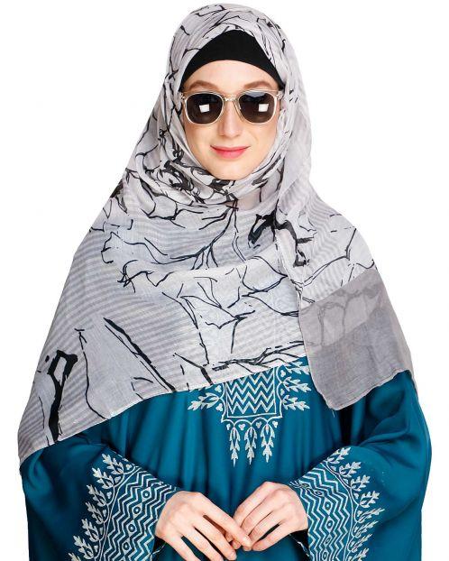 Printed Solid Border Grey Hijab