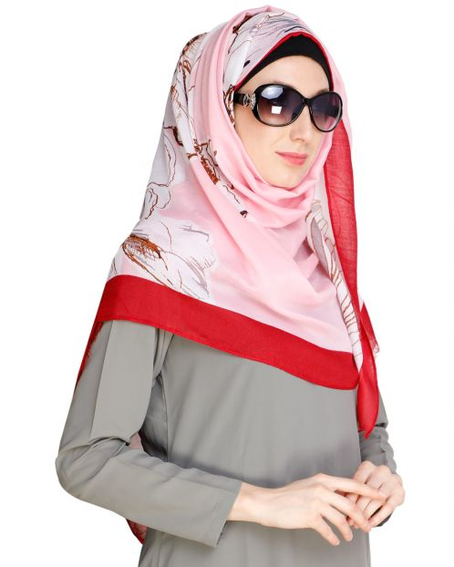 Printed Solid Border Pink Hijab