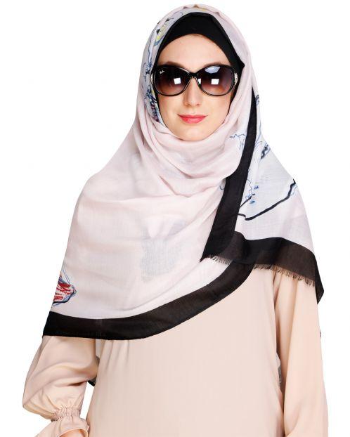 Printed Solid Border Baby Pink Hijab
