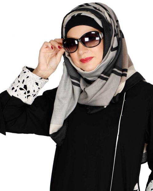 Bold And Solid Black Casual Hijab