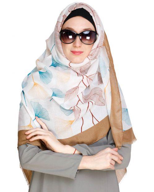 Leaf Print Cream colour Hijab