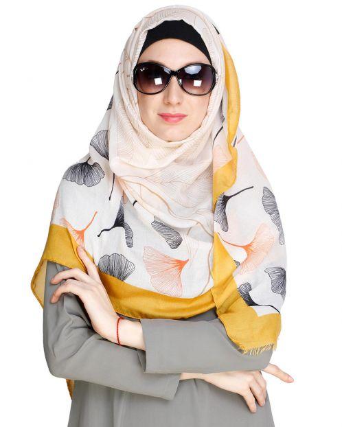 Leaf Print Light Beige Hijab