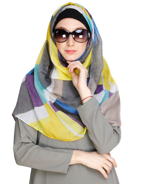 Abstract Brown Multi colour Hijab