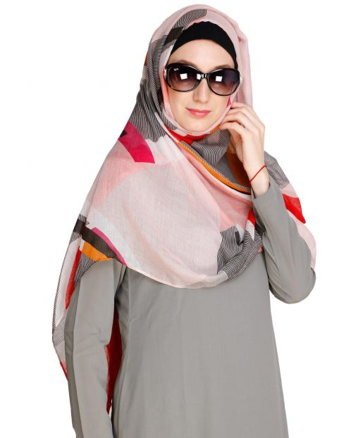 Abstract Red Multi colour Hijab
