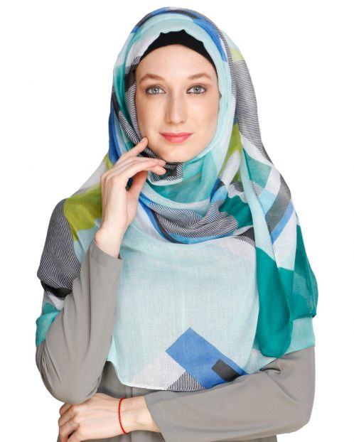 Abstract Green Multi colour Hijab