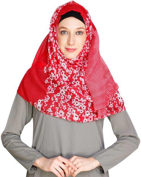 Floral Red Polka Hijab