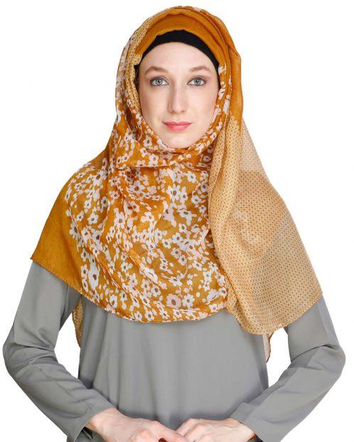Floral Yellow Polka Hijab