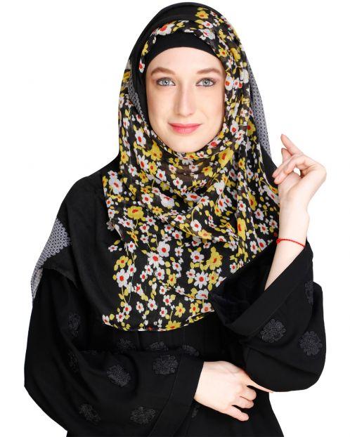 Floral Black Polka Hijab
