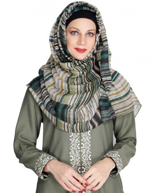 Green Multi Stripes Hijab