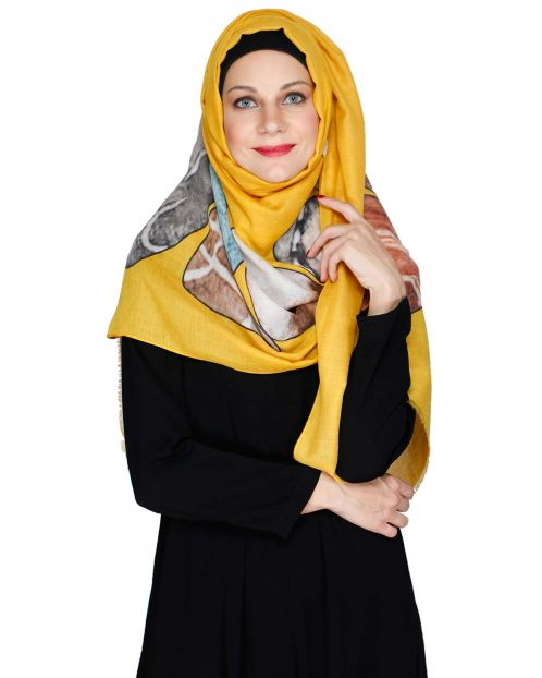 Yellow Multi colour Hijab