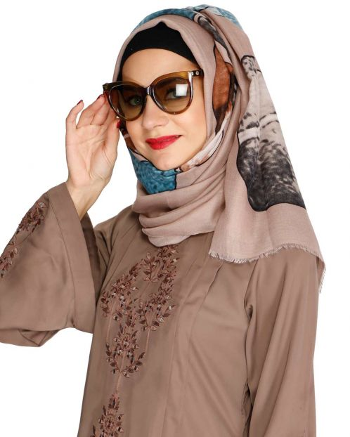 Pale Brown Multi colour Hijab