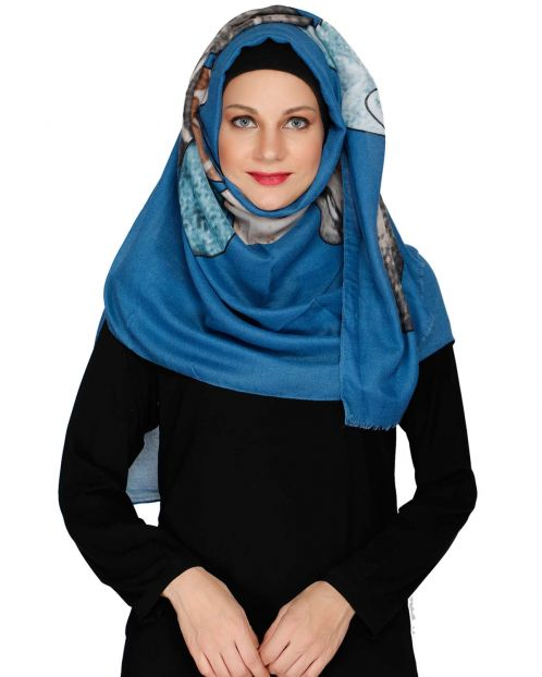 Royal Blue Multi colour Hijab