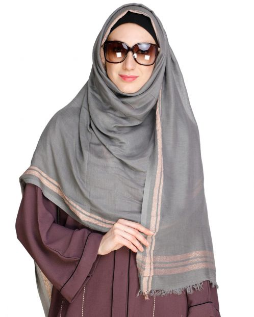 Golden Border Solid colour Hijab