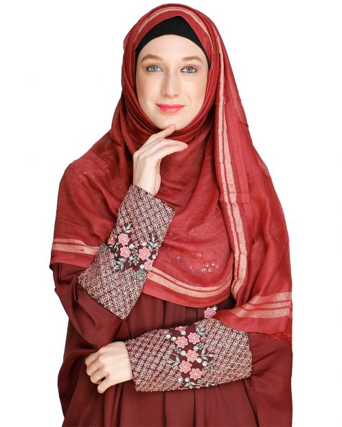 Golden Border Solid red colour Hijab