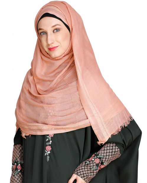 Golden Border Solid pink colour Hijab