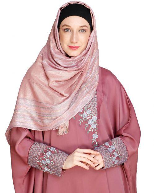 Coruscate Stripes Border Onion pink Hijab