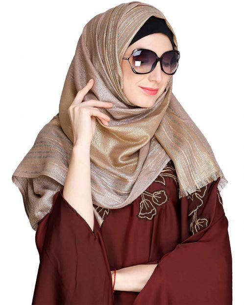 Coruscate Stripes Border Brown Hijab