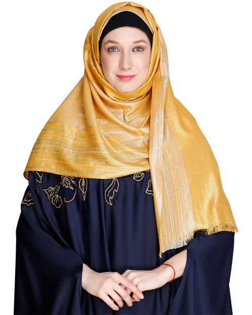 Coruscate Stripes Border Mustard Hijab