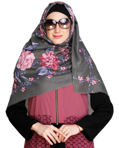 Ombre Floral Printed Grey Hijab