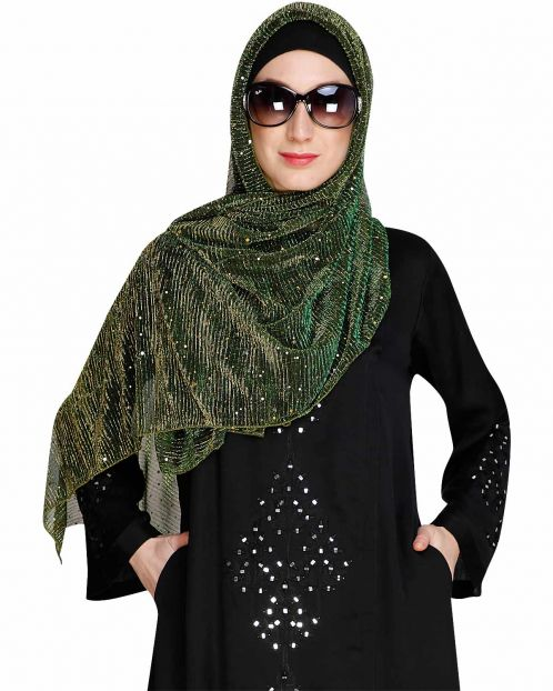 Sequence Sprinkle Green crinkled Hijab