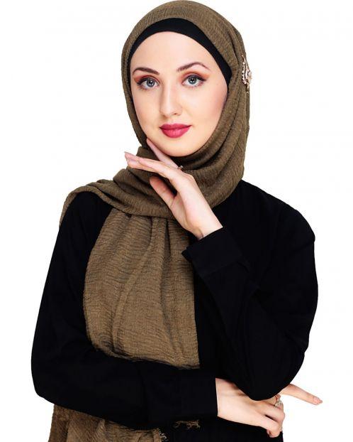 Crinkled Cotton Dark Brown Hijab