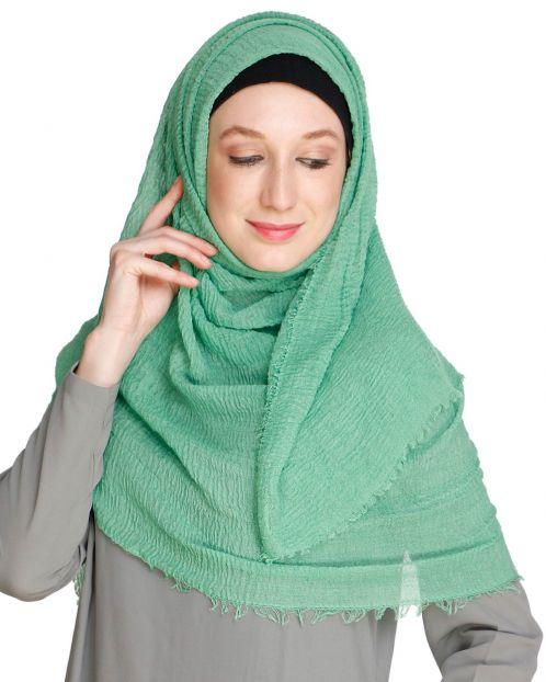 Green Crinkled Hijab