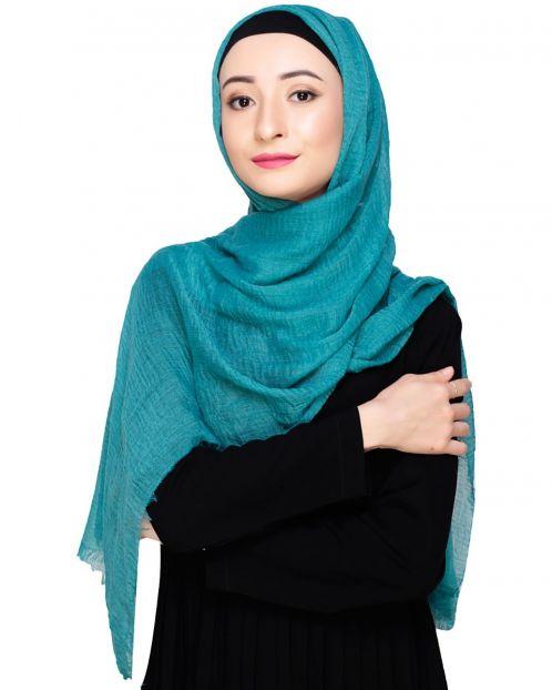 Crinkled Cotton Teal Hijab