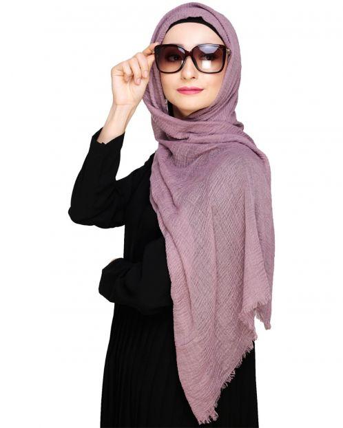 Crinkled Cotton Lavender Hijab