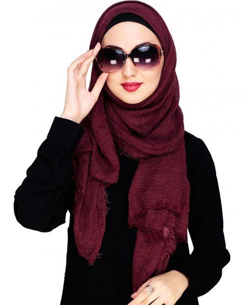 Crinkled Cotton Maroon Hijab