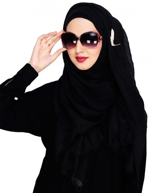 Crinkled Cotton Black Hijab