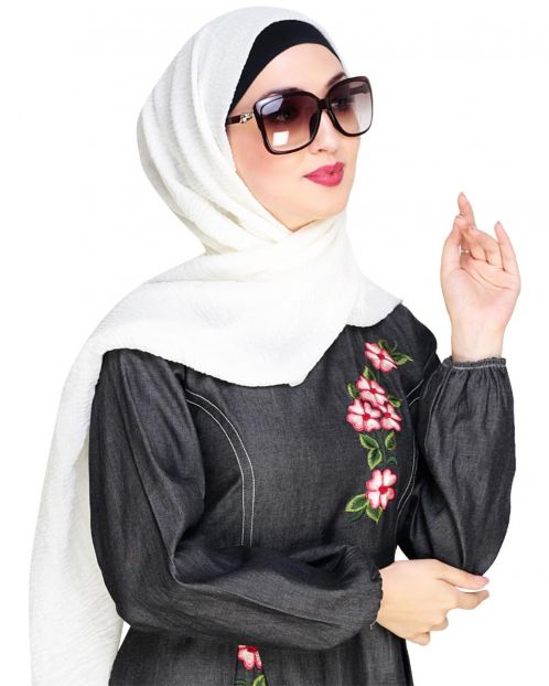 Crinkled Cotton Off White Hijab