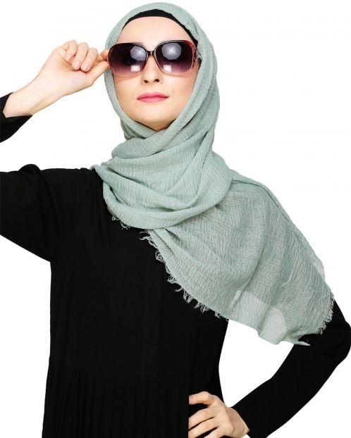 Crinkled Cotton Grey Hijab