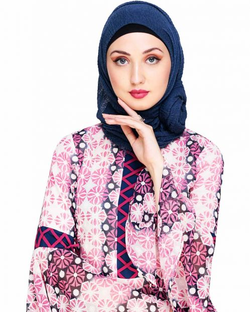 Crinkled Cotton Dark Blue Hijab