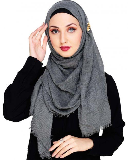 Crinkled Cotton Dark Grey Hijab
