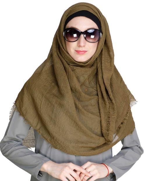 Dark Olive Crinkled Hijab