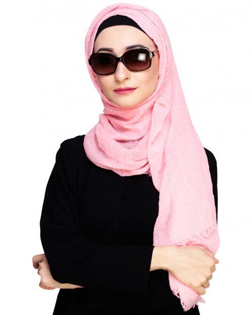 Crinkled Cotton Light Pink Hijab