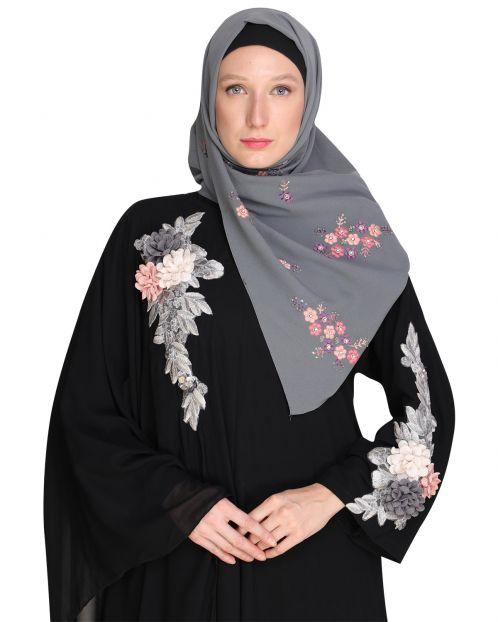 Floral bootis Grey Hijab